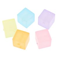 Jelly Style Acrylic Beads, Cube, translucent, mixed colors, 12mm, Hole:Approx 1mm, 2Bags/Lot, Approx 260PCs/Bag, Sold By Lot