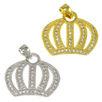 Cubic Zirconia Micro Pave Brass Pendant Crown plated micro pave cubic zirconia nickel lead   cadmium free 18x15x2mm Hole:Approx 2.5x3mm 20PCs/Lot