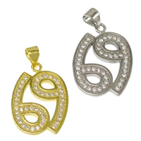 Cubic Zirconia Micro Pave Brass Pendant, Number, plated, micro pave cubic zirconia, more colors for choice, nickel, lead & cadmium free, 16x21.50x1.50mm, Hole:Approx 3.5x4mm, 20PCs/Lot, Sold By Lot