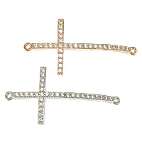 Cubic Zirconia Micro Pave Brass Connector Cross plated micro pave cubic zirconia   1/1 loop nickel lead   cadmium free 39x19x2.50mm Hole:Approx 1.5mm 20PCs/Lot