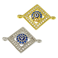 Evil Eye Connector, Brass, Rhombus, plated, evil eye pattern & micro pave cubic zirconia & epoxy sticker & 1/1 loop, more colors for choice, nickel, lead & cadmium free, 20x15x3.50mm, Hole:Approx 1mm, 20PCs/Lot, Sold By Lot