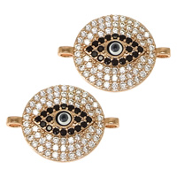 Evil Eye Connector, Brass, Flat Round, real rose gold plated, evil eye pattern & micro pave cubic zirconia & epoxy sticker & 1/1 loop, nickel, lead & cadmium free, 20x15x2.50mm, Hole:Approx 1x1.5mm, 20PCs/Lot, Sold By Lot
