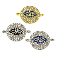 Evil Eye Connector, Brass, Flat Round, plated, evil eye pattern & micro pave cubic zirconia & epoxy sticker & 1/1 loop, more colors for choice, nickel, lead & cadmium free, 21x14x3mm, Hole:Approx 1.5mm, 20PCs/Lot, Sold By Lot