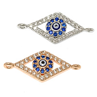 Evil Eye Connector, Brass, Rhombus, plated, evil eye pattern & micro pave cubic zirconia & epoxy sticker & 1/1 loop, more colors for choice, nickel, lead & cadmium free, 24x10x3.50mm, Hole:Approx 1mm, 20PCs/Lot, Sold By Lot