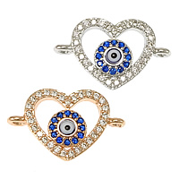 Evil Eye Connector, Brass, Heart, plated, evil eye pattern & micro pave cubic zirconia & epoxy sticker & 1/1 loop, more colors for choice, nickel, lead & cadmium free, 19x11x3mm, Hole:Approx 1.2mm, 20PCs/Lot, Sold By Lot