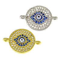 Evil Eye Connector, Brass, Flat Round, plated, evil eye pattern & micro pave cubic zirconia & epoxy sticker & 1/1 loop, more colors for choice, nickel, lead & cadmium free, 18x13x2.50mm, Hole:Approx 1.5mm, 20PCs/Lot, Sold By Lot