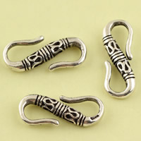 Thailand Sterling Silver S Shape Clasp, 7.80x20.40x3.30mm, Hole:Approx 4.4mm, 12PCs/Lot, Sold By Lot