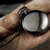 Модная Смотреть ожерелье, цинковый сплав, с железный цепи & Стеклянный, Плоская круглая форма, черный свнец, твист овал & имитация под античность, не содержит никель, свинец, 47mm, Продан через Приблизительно 14 дюймовый Strand