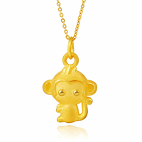 24K Gold Pendant, Monkey, 12.30x19x5.30mm, Hole:Approx 3mm, Sold By PC