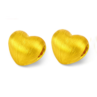 24K Gold Beads, Heart, brushed, 9x10mm, Hole:Approx 4x2.5mm, Sold By PC