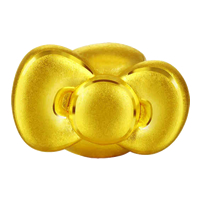24K Gold Beads, Bowknot, 15x9mm, Hole:Approx 4mm, Sold By PC