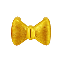 24K Gold Slide Charm, Bowknot, brushed, 13x9mm, Hole:Approx 6x2.5mm, Sold By PC