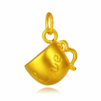 24K Gold Pendant, Cup, word love, 13.30x15.80mm, Hole:Approx 3mm, Sold By PC