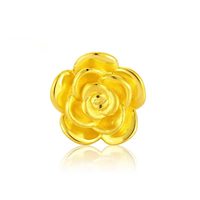 24K Gold Beads, Flower, 13x13mm, Hole:Approx 3mm, Sold By PC
