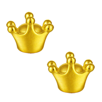 24K Gold Beads, Crown, 7.80x10.50mm, Hole:Approx 3mm, Sold By PC