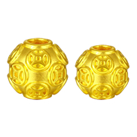 24K Gold Beads, Round, different size for choice, Hole:Approx 3mm, Sold By PC