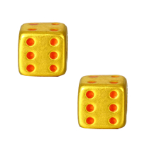 24K Gold Beads, Dice, enamel, 6.60x6.30mm, Hole:Approx 4.2mm, Sold By PC