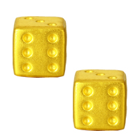 24K Gold Beads, Dice, 6.60x6.30mm, Hole:Approx 4.2mm, Sold By PC