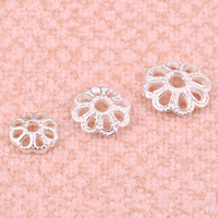 925 Sterling Silver Bead Cap Flower 10PCs/Bag