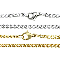Stainless Steel Chain Necklace plated twist oval chain 4x3x0.80mm Length:Approx 24 Inch