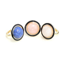 Natural Gemstone Finger Ring Zinc Alloy with Gemstone Flat Round gold color plated different materials for choice   enamel lead   cadmium free 25mm US Ring Size:6.5