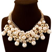 Ожерелья из стекла, цинковый сплав, с Стеклянный жемчуг, с 2lnch наполнитель цепи, плакирован золотом, со стразами, не содержит никель, свинец, 90mm, длина:Приблизительно 15 дюймовый, 3пряди/Лот, продается Лот