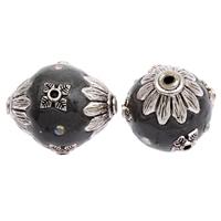 Индонезия бусины, с цинковый сплав, Овальная форма, плакированный цветом под старое серебро, со стразами, 24x20mm, отверстие:Приблизительно 2mm, 100ПК/сумка, продается сумка