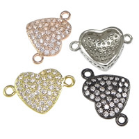 Cubic Zirconia Micro Pave Brass Connector Heart plated micro pave cubic zirconia   1/1 loop nickel lead   cadmium free 16x11x4.50mm Hole:Approx 1mm 20PCs/Bag