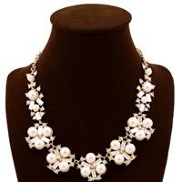Ожерелья из стекла, цинковый сплав, с Кристаллы & Стеклянный жемчуг, с 2lnch наполнитель цепи, плакирован золотом, твист овал & граненый & со стразами, не содержит никель, свинец, 30mm, длина:Приблизительно 20 дюймовый, 5пряди/Лот, продается Лот