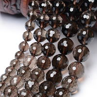 Natural Smoky Quartz Beads, Round, 128-sided & different size for choice & faceted, Grade AAAAA, Hole:Approx 1mm, Sold Per Approx 15.5 Inch Strand