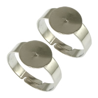 Brass Pad Ring Base, platinum color plated, adjustable, 10x1mm, US Ring Size:7.5, 300PCs/Lot, Sold By Lot