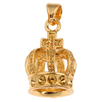 Zinc Alloy Pendant Rhinestone Setting Crown gold color plated lead   cadmium free 13x20x13mm Hole:Approx 3x2mm Inner Diameter:Approx 1.5mm