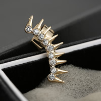 Fashion Earring Cuff, Zinc Alloy, Leaf, gold color plated, with rhinestone, nickel, lead & cadmium free, 11x30mm, 3PCs/Lot, Sold By Lot