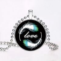 Luminated Necklace, Zinc Alloy, with stainless steel chain & Paper & Resin, Flat Round, word love, platinum color plated, time gem jewelry & ball chain, nickel, lead & cadmium free, 33mm, Length:Approx 23.6 Inch, 3Strands/Lot, Sold By Lot
