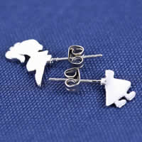 Asymmetric Earrings, Zinc Alloy, stainless steel post pin, Girl, silver color plated, nickel, lead & cadmium free, 10x20mm, 3Pairs/Lot, Sold By Lot