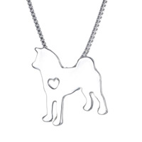 Zinc Alloy Jewelry Necklace, Dog, silver color plated, box chain, nickel, lead & cadmium free, 22x25mm, Length:Approx 18 Inch, 3Strands/Lot, Sold By Lot