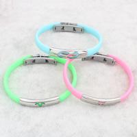 Силиконовые браслеты, нержавеющая сталь, с Силикон, Много цветов для выбора, 36x9x5mm, Продан через Приблизительно 7.5 дюймовый Strand