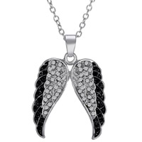 Zinc Alloy Jewelry Necklace, with 2lnch extender chain, Wing Shape, silver color plated, oval chain & with rhinestone, nickel, lead & cadmium free, 22x30mm, Length:Approx 16.8 Inch, 3Strands/Lot, Sold By Lot