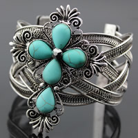 Zinc Alloy Cuff Bangle with Turquoise fleur-de-lis cross antique silver color plated with rhinestone lead   cadmium free 45mm Inner Diameter:Approx 45mm Length:Approx 7.5 Inch 3PCs/Bag