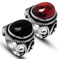 Gemstone Stainless Steel Finger Ring with Agate natural   different materials for choice blacken 12.80x17mm 5PCs/Lot