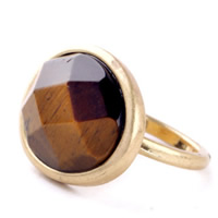 Natural Gemstone Finger Ring Zinc Alloy with Tiger Eye gold color plated faceted lead   cadmium free 24mm US Ring Size:6.5
