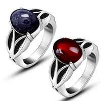 Gemstone Stainless Steel Finger Ring with Gemstone natural   different materials for choice blacken 10x8.50mm 6PCs/Lot