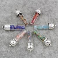 Подвески, выполненные в технике миллефиори, цинковый сплав, с Стеклянный & Миллефиори, Капсула, плакированный цветом под старое серебро, Много цветов для выбора, не содержит свинец и кадмий, 13x48mm, отверстие:Приблизительно 1.5mm, 3ПК/сумка, продается сумка