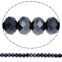 Rondelle Crystal Beads, faceted, Jet, 10x7mm, Hole:Approx 2mm, Length:21.5 Inch, 10Strands/Bag, Approx 72PCs/Strand, Sold By Bag
