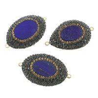 Natural Lapis Lazuli Connector, with Rhinestone Clay Pave & Brass, gold color plated, mixed & 1/1 loop, 42x26x5mm, Hole:Approx 1mm, 5PCs/Bag, Sold By Bag