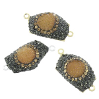 Druzy Connector Resin with Rhinestone Clay Pave   Brass plated imitation druzy quartz   1/1 loop mixed colors 30x16x7mm Hole:Approx 1mm 5PCs/Bag