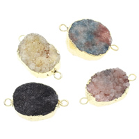 Druzy Connector Ice Quartz Agate with Brass gold color plated natural   druzy style   mixed   1/1 loop 35x20x12mm-36x22x13mm Hole:Approx 3mm 5PCs/Bag