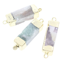 Ice Quartz Agate Connector with Brass gold color plated natural   mixed   1/1 loop 47x11mm-45x12mm Hole:Approx 3mm 5PCs/Bag