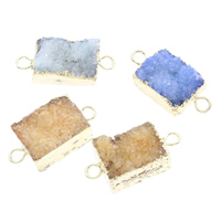 Druzy Connector Ice Quartz Agate with Brass gold color plated natural   druzy style   mixed   1/1 loop 29x13x9mm-29x14x10mm Hole:Approx 3mm 5PCs/Bag