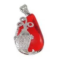 Wisior z czerwonym agatem, Mosiądz, ze Agat czerwony, Łezka, Platerowane platyną, naturalny & mikro utorować cyrkonia, bez zawartości niklu, ołowiu i kadmu, 14.50x24x6mm, otwór:około 4x4.5mm, 10komputery/wiele, sprzedane przez wiele